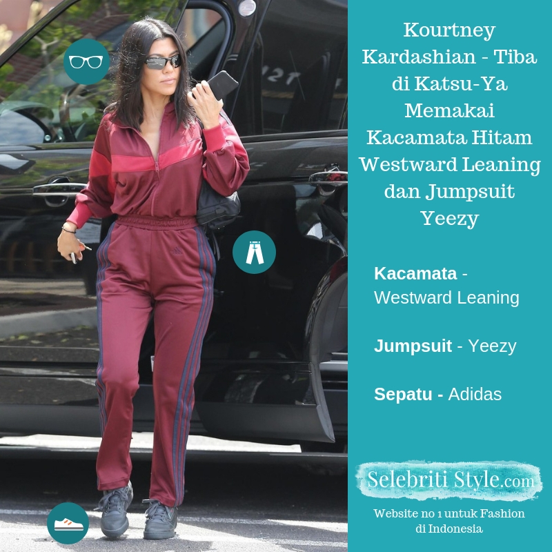 Highlight – Kourtney Kardashian – Tiba di Katsu-Ya Memakai Kacamata Hitam Westward Leaning dan Jaket Training Yeezy