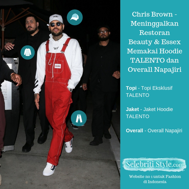 Highlights – Chris Brown – Meninggalkan Restoran Beauty & Essex Memakai Hoodie TALENTO dan Overall Napajiri