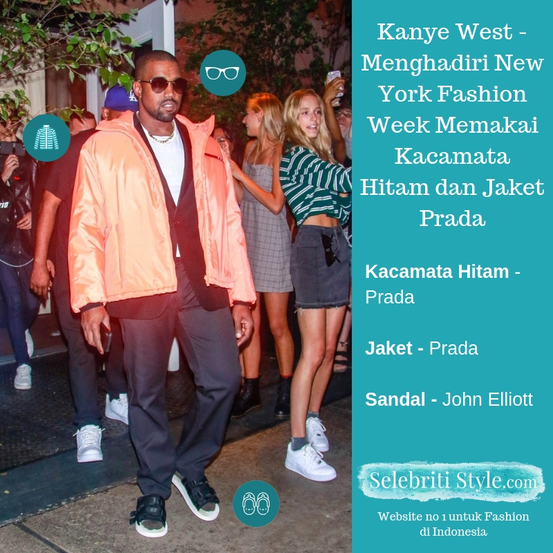 Highlight – Kanye West – Menghadiri New York Fashion Week Memakai Kacamata Hitam dan Jaket Prada